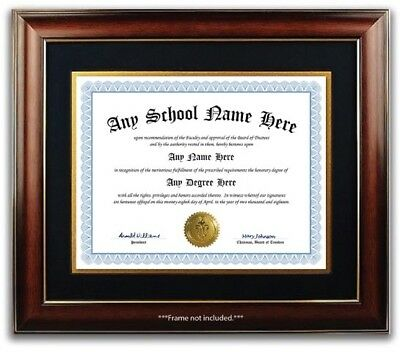University High School College Personalized Diploma w/ Gold Seal Novelty Blue B