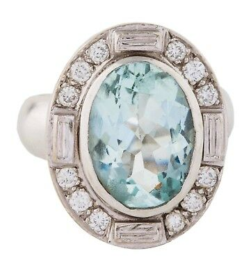 Estate Designer ELIZABETH GAGE Aquamarine Diamond 14k Gold Cocktail Ring