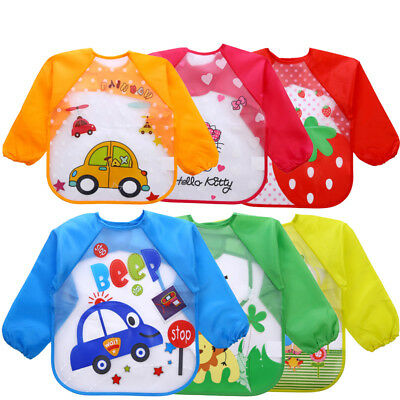 Cute Baby Toddler Waterproof Long Sleeve Bibs Children Kids Feeding Smock Apron
