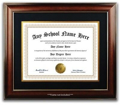 University High School College Personalized Diploma w/ Gold Seal Novelty Beige B
