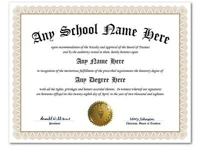 University High School College Personalized Diploma w/Gold Seal Novelty Lt Beige