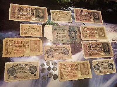OLD NAZI GERMANY RARE BANKNOTES / COINS - 22pc LOT - Vintage WWII ! FOLDS LOT!