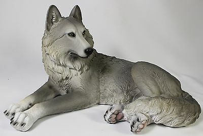 RECLINING WOLF STATUE Figurine Sculpture NEW Polyresin LE Wildlife Dog Husky Pup