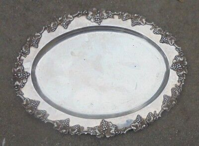 fine old silver plated copper serving tray grapevine border