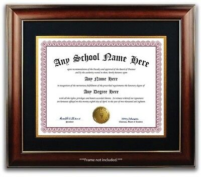 University High School College Personalized Diploma w/ Gold Seal Novelty Wine B