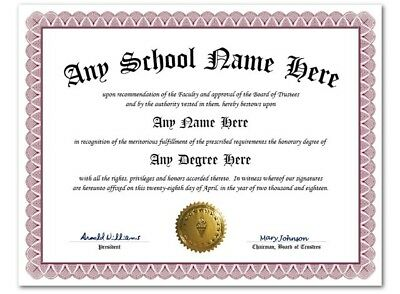 University High School College Personalized Diploma w/ Gold Seal Novelty Lt Wine