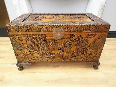 GENUINE Vintage TIMBER Asian CAMPHOR Chest BOX Very DETAILED LARGE QZZQ Adelaide