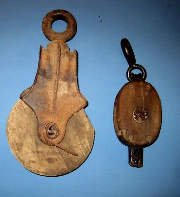 Lot 2 Antique WOOD pulley cast iron FRAME block & tackle Anvil FARM Steampunk!