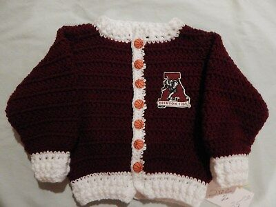 New Child's Handmade Alabama Crimson Tide Burgundy Basketball Sweater Size 2