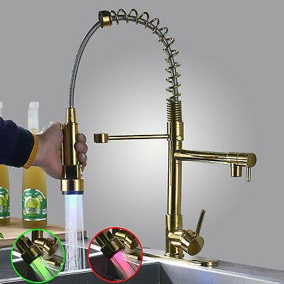 Gold LED Spray Vessel Sink Kitchen Faucet Hot Cold Water Swivel Spouts Mixer Tap