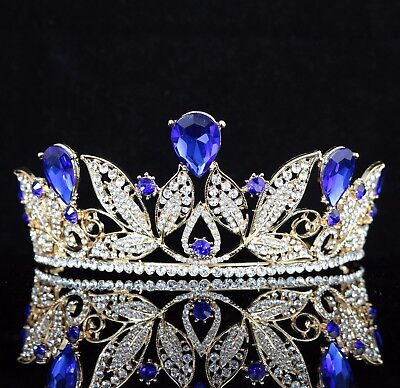 Leaves Blue Austrian Rhinestone Crystal Tiara Crown Wedding Pageant Prom T67b