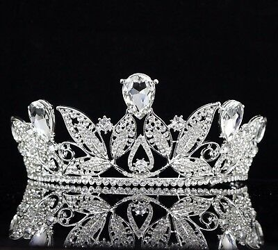 Leaves Clear Austrian Rhinestone Crystal Tiara Crown Wedding Pageant Prom T67
