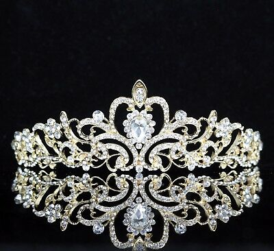 Princess Clear Austrian Rhinestone Tiara Crown Bridal Wed Prom Pageant Gold T6g