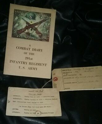 Vintage 1945 WW II US Army  Combat Diary 291st Infantry Regiment Tags Papers