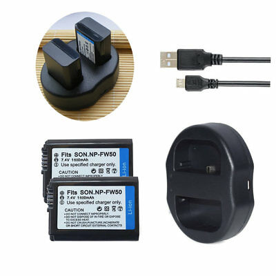 NP-FW50 Battery /  Dual USB Charger For Sony Alpha A6300 A6500 A6000 A7r A7