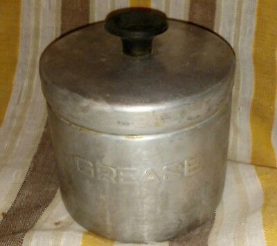 Vintage Mid Century Aluminum Grease Canister With Strainer