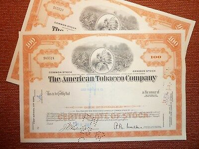 2 x The American Tobacco Co., 1967, 100 Shares,  TABAK