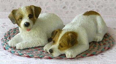 NWOB 2 SANDICAST JACK RUSSELL TERRIER Dog Puppy Figurines B26 & S68 + FREE RUG!
