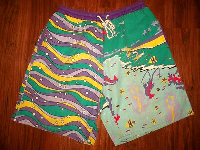 vintage 80`s shorts neon pants olschool surf new wave 80er Jahre retro M/L