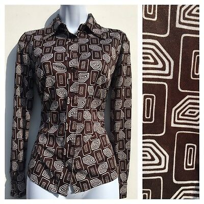 Vintage 70s St Michael Brown Psychedelic  Pattern Shirt Blouse 10 12 Disco