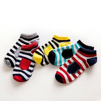 5 Pairs box Casual Invisible Ankle Mens 100% Cotton Nonslip Boat Low Cut Socks