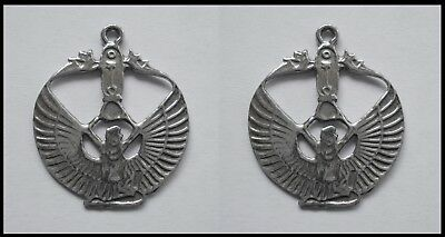PEWTER CHARM #2322 x 2 ISIS WINGED GODDESS (25mm x 20mm) 1 bail EGYPTIAN pendant