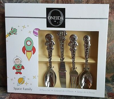 Oneida Space Family 4 Piece Children's Flatware Set Stainless Steel T864004B NIB