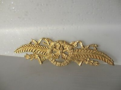 "Ornate Furniture Ormolu Hardware Gold/ Brass Wreath Trumpets Ribbon Gilt  7""W"