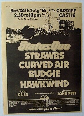 STATUS QUO BUDGIE HAWKWIND STRAWBS 1976 Poster Ad CARDIFF CASTLE CONCERT