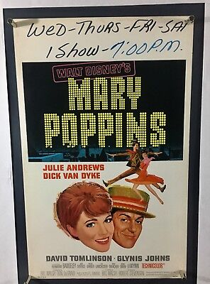MARY POPPINS Movie Poster (VeryGood+) Window Card 1964 Rolled WC032