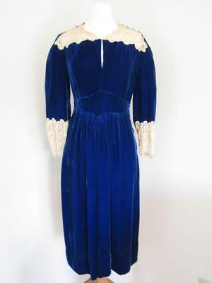 VTG 1930s/1940s KORNHAUSER Original Blue Velvet/Ecru Beaded Lace Dress Fits S M