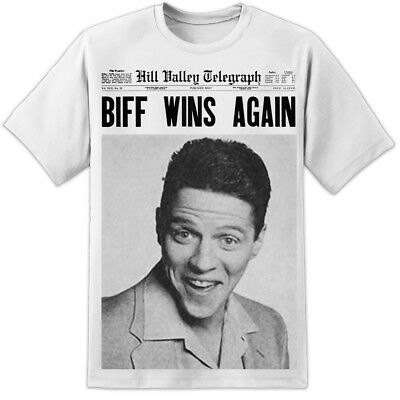 Mens Back To The Future Biff Tannen Newspaper T Shirt Retro Flux Capacitor Marty