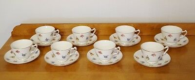 """Set of 8 Crown Staffordshire England Rose Pansy Footed 2.5"""" Tea Cup and Saucer"""