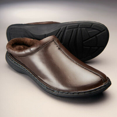 New Churchill Fleece Lined Mule Slippers Leather Uppers Slip on Indoors Outdoors