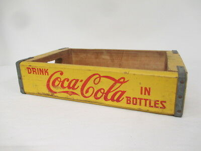 "Vintage Rectangle Yellow ""Have A Coke"" Wooden Crate Coca-Cola"