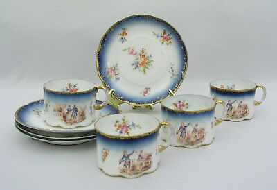 (4) Rosenthal Pattern 2367 H Monbijou - Cup & Saucer Sets - Antique 1891-1906