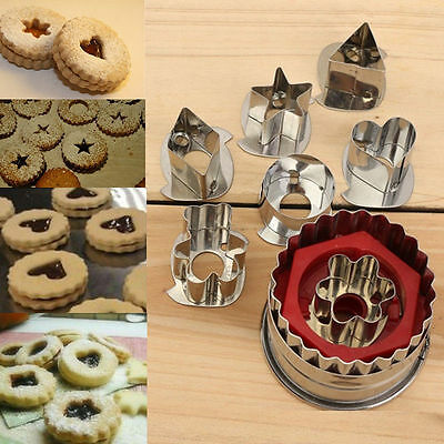 New 7pcs Set Stainless Steel Cookie Biscuit Fondant Cake Jelly Mold Baking Tools