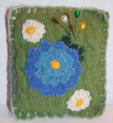 Pincushion Primitive Felted Wool Blue Flowers, Pin Keep, Handmade