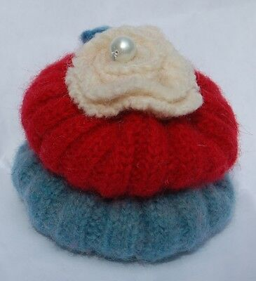 Pincushion Primitive Wool  Felted Red White Blue Pin Cushion, Handmade