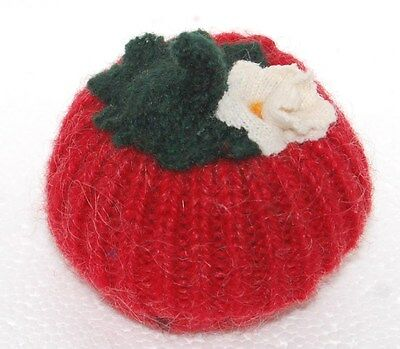 Pincushion Primitive Red Tomato Felted Wool, Pin Cushion, Pin Keep, Handmade