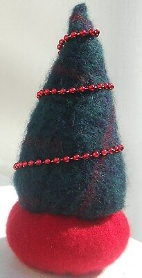 Pincushion Primitive Felted Wool Christmas Tree Decoration Handmade