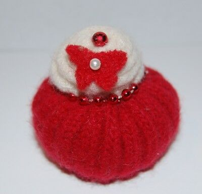 Pincushion Primitive Felted Wool Mini Red and White Pin Keep, Handmade