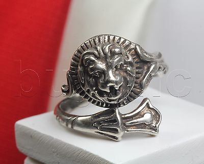Antique Silver Animal Adjustable Ring Solid Sterling Silver Lion Head Brand New