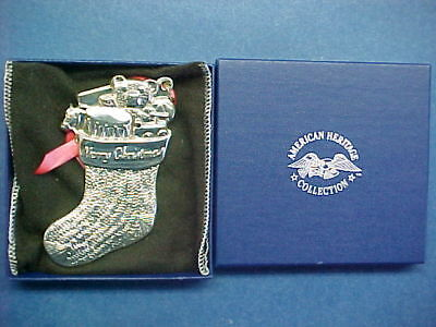 """1994 American Heritage Sterling Silver Christmas Ornament  """"christmas Stocking"""""""