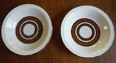 """(2) Midwinter Earth Stonehenge 8-1/2"""" Rimmed Soup Bowl   EXC  Hard to Find"""