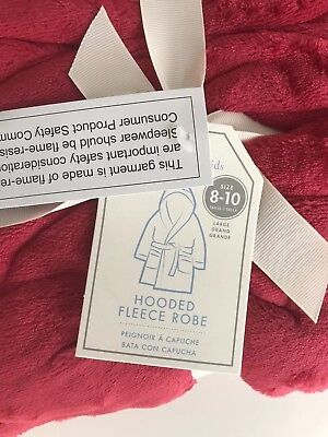 Pottery Barn Kids Solid Hooded Plush Fleece Robe size 8-10 Red NWT (no mono)