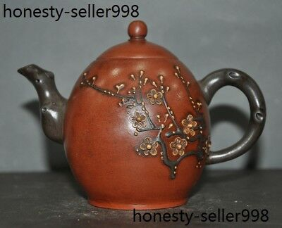 Old Chinese Yixing ZiSha Pottery hand carved Plum flowers TeaPot Tea makers pot