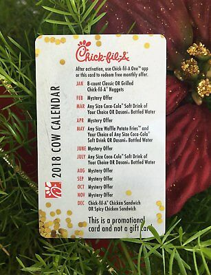2018 Chick-Fil-A Cow Calendar CARD ONLY