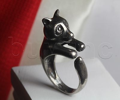 Panda Solid Sterling Silver 925 Ring Unique Adjustable Jewelry Antique Victorian