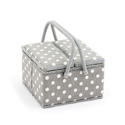 HobbyGift MRLTLE268 | PVC Grey Linen Polka Large Twin Lidded Sewing Box